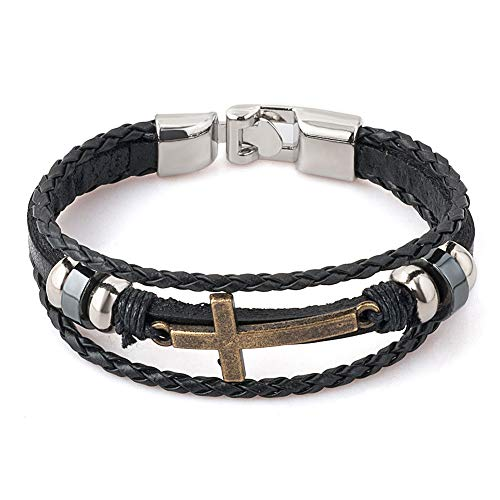 CLY Jewelry Leather Braided Wrap Bracelet Design Black with Copper Cross Clasp Wrap Bracelet Cuff Bracelet Fashion Casual for Women Cool Style for Men