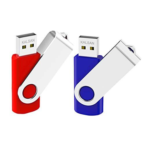 KALSAN 32GB USB Flash Drives 32GB Flash Drives 32GB USB Memory Stick USB 2.0 2 Pack-Blue Purple