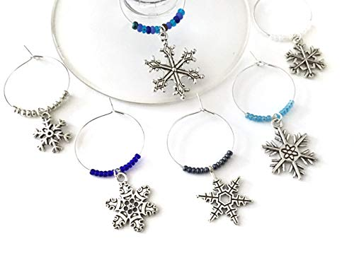 Snowflake Wine Charms, Winter themed Wine Charm Gift, Snowflake gift. Set of 6. MULTI COLOR BEADS. ()
