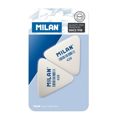 Milan 428 Triangular Synthetic Rubber Erasers 2 Piece Set ()