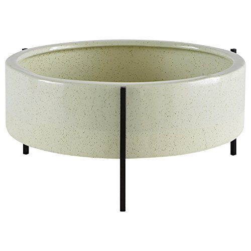 Rivet Mid-Century Ceramic Planter with Iron Stand 6.75