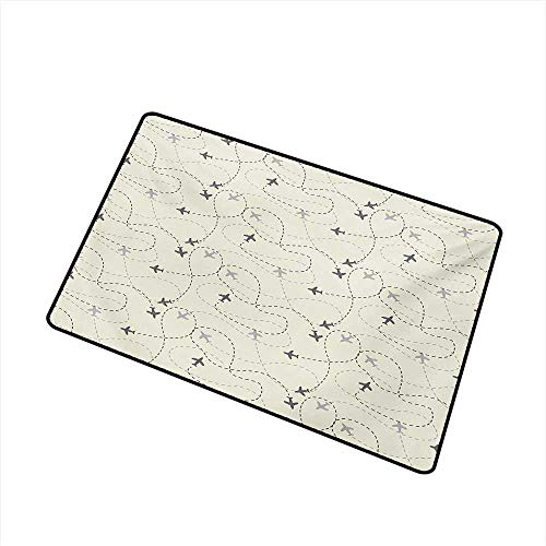 Becky W Carr Grey Commercial Grade Entrance mat Airline Route Map Flight Jet Destination Control Fly Theme Textured Travel Trip Journey for entrances, garages, patios W15.7 x L23.6 Inch,Beige (Best Surf Trip Destinations)