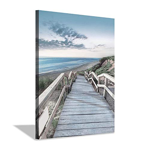 (Beachside Wooden Path Wall Art: Bridge Boardwalk Stair Graphic Art on Wrapped Canvas for Wall Decor (12''x16''))