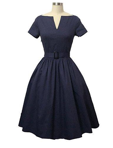 PU&PU Robe Aux femmes Swing Vintage,Couleur Pleine Col en V Mi-long Coton , red-xl , red-xl