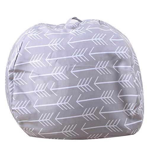 Evoio Bean Bag Stuffed Animal Storage Kid's Toys Organizer & Comfy Beanbag Chair Multipurpose Storage Bag 100% Cotton Premium Canvas (Arrow Grey, 38'')