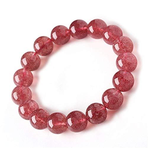 DUOVEKT 12mm Natural Strawberry Quartz Bracelet Red Beads Red Crystal Gemstone for Women Men Anniversary Party Love Gift Fashion Bracelet AAAA