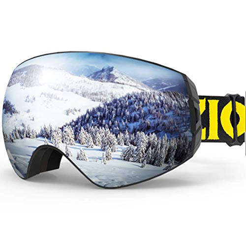 ZIONOR X7 Ski Snowboard Snow Goggles for Men Women Anti-Fog UV Protection Spherical Dual Lens Design (VLT 8.59% Black Frame Silver Lens) (Ski Helmet Chrome)
