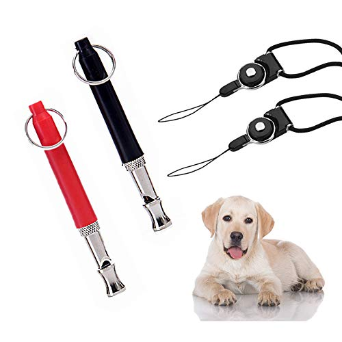 THINKPRICE 2 Pack Dog Whistle to Stop Barking 2019 Barking Control Ultrasonic Patrol Sound Repellent Repeller Adjustable Pitch with Free Premium Quality Lanyard Strap &Ebook Training Guide ()