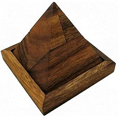 Winshare Puzzles and Games Triangle Pyramid Wooden Brain Teaser Puzzle: Toys & Games