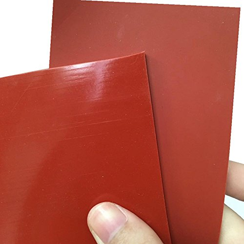 Thick Silicone Rubber Gasket Sheeting, High Temperature No Backing Solid Red 1/8 by 6 by 6 inch by Laimeisi