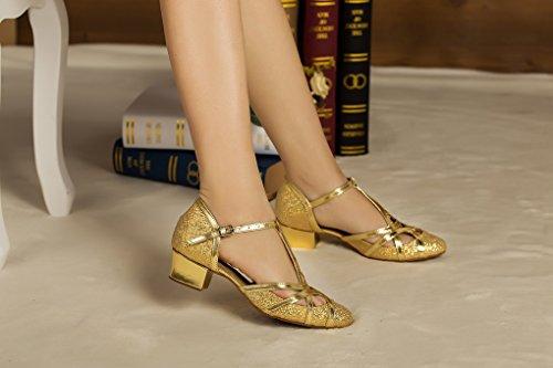 Minitoo Salsa Latin 5cm Strap Closed Tanzschuhe Womens T Glitter Chunky Ballsaal High Heel PU Gold Leder QJ6133 Tango Toe Heel 3 rqzx7UrA4