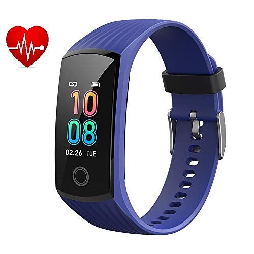 2019 Color Screen H6 Smartwatch for Men & Women Waterproof Sports Watch Smart Wristband with Heart Rate Blood Pressure Monitor Fitness Activity Tracker for Running Compatible for Android & iOS (Blue)