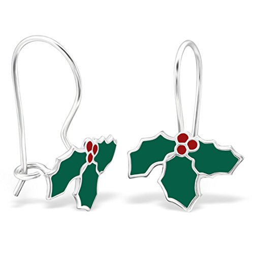 Cute Colorful Green Holly Leaf Dangle Earrings 925 Sterling Silver Girls Nickle Free (E28646) (Candy Nickles compare prices)