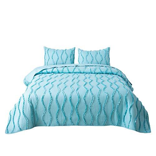 FELIX ANGELA HOME 3-Piece Bedding Quilt Set-Elegant Ruffle Stripe Quilt-Luxurious Brushed Microfiber Solid Color Coverlet Set -King -