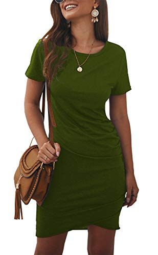 BTFBM Women's 2019 Casual Crew Neck Ruched Stretchy Bodycon T Shirt Short Mini Dress (104Green, Large)