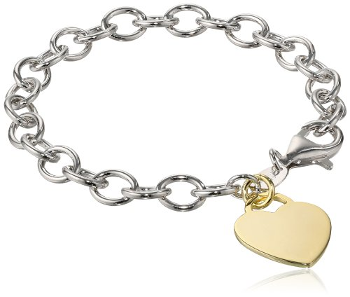 (Sterling Silver Yellow-Gold Plated Heart Tag Bracelet, 7.5