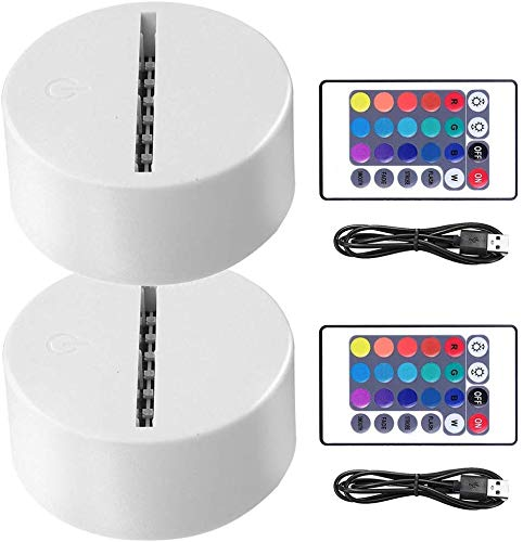 2-Pack 3D LED Night Light Lamp Base + Remote Control + Blank Acrylic + USB Charger Cable, Adjustable 7 Colors Decoration Decorative Lights Base for Bedroom Child Living Room Party Bar Restaurant