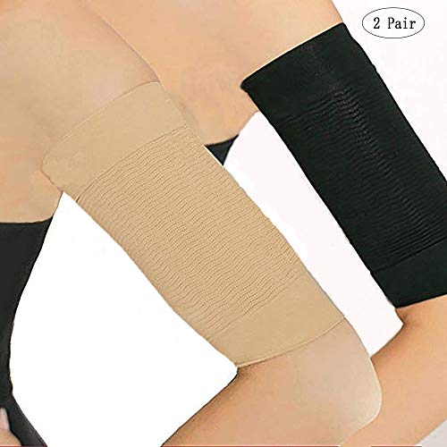 Arm Shaper Massager Calories Slimming Lose Buster Weight Loss Wrap Slimming Compression Arm Shaper Helps Tone Shape Upper Arms Sleeve for Beauty Women (Beige + Black)