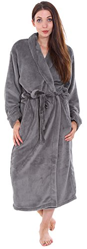 Simplicity Unisex Plush Spa Hotel Kimono Bath Robe Bathrobe Sleepwear Steel Grey, One Size