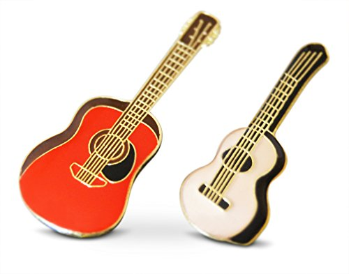 Novel Merk 2-Piece Acoustic Strong Guitar Musician Lapel or Hat Pin & Tie Tack Set with Clutch Back - Guitar Pin Lapel