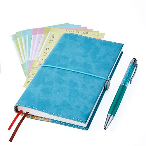 2019 Monthly Planner with Index Sticks Ballpoint Pen, Agenda Book to Achieve Your Goals Pocket Calendar 2019-2020 for Better Working Efficiency (Planner Lake Blue)