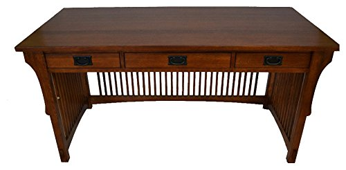 Oak Library Table - Crafters and Weavers Mission Solid Oak Library Table with 3 Drawers