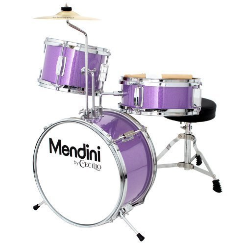 Mendini by Cecilio 13 inch 3-Piece Kids/Junior Drum Set with Throne, Cymbal, Pedal & Drumsticks, Metallic Purple, ()