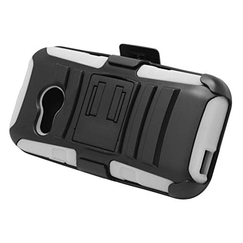 HTC One Remix (Verizon) - Black and White Impact Armor Kickstand Hybrid Cover Case + Locking Swivel Belt Clip Holster + Atom LED Keychain Light (Cases Htc Verizon Remix)