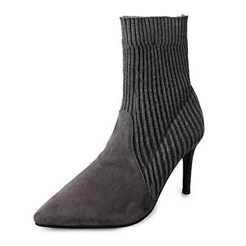 botines Botines moda Invierno Stiletto Otoño nubuck botas talón for HSXZ negro Black de de botas de Gris cuero Mujer Confort Zapatos casual 0SBawqxZ