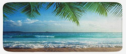 "Ambesonne Ocean Kitchen Mat, Palms Tropical Island Beach Seashore Water Waves Hawaiian Nautical Marine, Plush Decorative Kithcen Mat with Non Slip Backing, 47"" X 19"", Blue Green"
