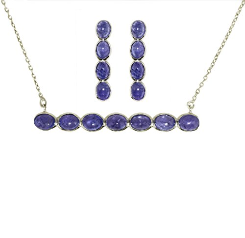(Oval Shape Natural Tanzanite Gemstone 925 Sterling Silver Necklace with Earring Women Jewelry Set)
