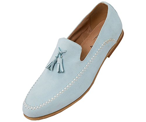 Amali Microfiber Faux Suede Moc Toe Men's Slip on Dress Shoe with Tassels Sky discount prices discount clearance genuine cheap online footlocker pictures cheap price 1YbDa4lif