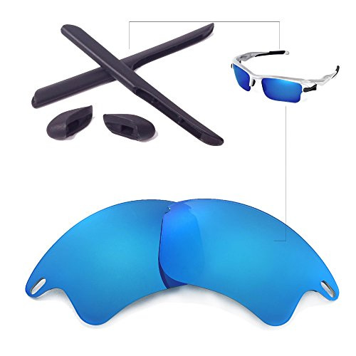 Walleva Replacement Lenses Or Lenses/Rubber for Oakley Fast Jacket XL Sunglasses - 26 Options Available (Ice Blue Polarized Lenses + Black - Oakleys Jacket Fast
