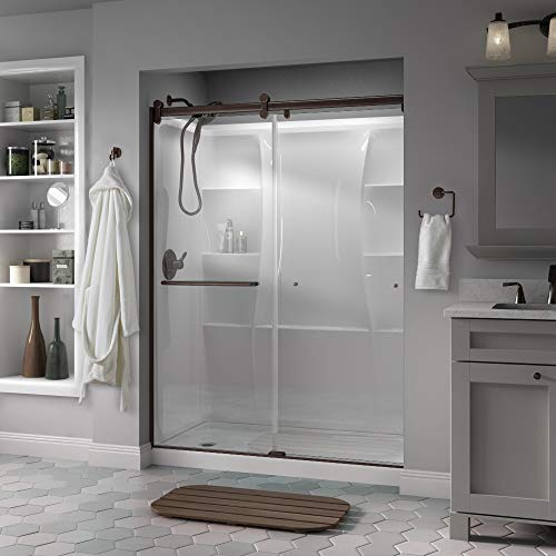"SD3957026 Classic Semi-Frameless Contemporary Sliding Shower 60""x71"", Bronze/Clear Glass"