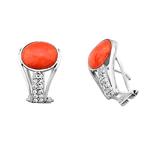Boucled'oreille 18k bande d'or corail blanc zircons ovale 10mm [AB2125]