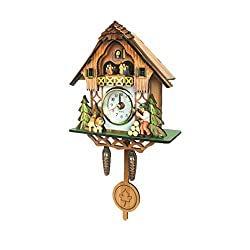 Vosarea Wooden Wall Clock,Cuckoo Shaped Clock Antique Pendulum for Home Kids Room Decor