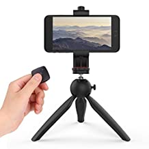 CellPhone & Camera Tripod with Remote Shutter, MoKo Multipurpose Tripod Universal Mount with Ball Head, Adjustable Phone Holder & Wireless Bluetooth Remote for Smartphones, DSLR & More