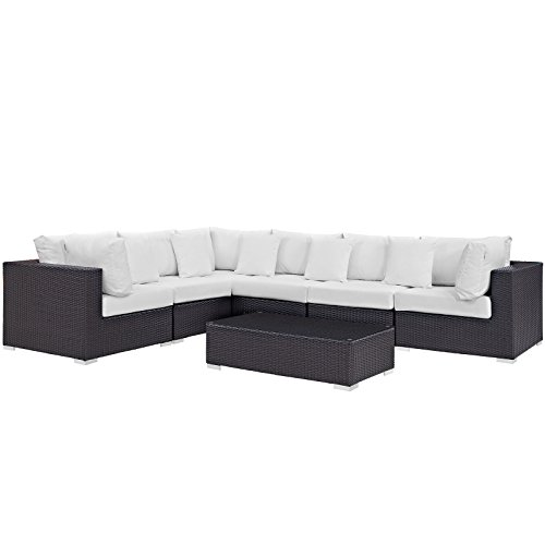 Modway Convene Collection EEI-2168-EXP-WHI-SET 7-Piece Outdoor Patio Sectional Set with 3 Corner Sections 3 Armless Sections and Coffee Table in