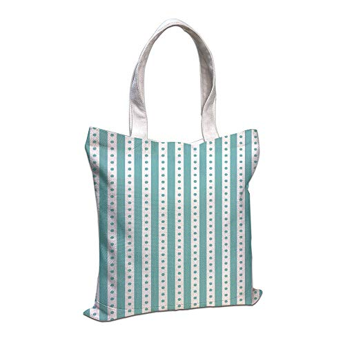iPrint Cotton Linen Tote Bag, Turquoise,Dots Rounds Stipes Thick Borders Vintage Retro Textured Image Decorative,Mint Green White Shopping Camping School Casual Pocket -