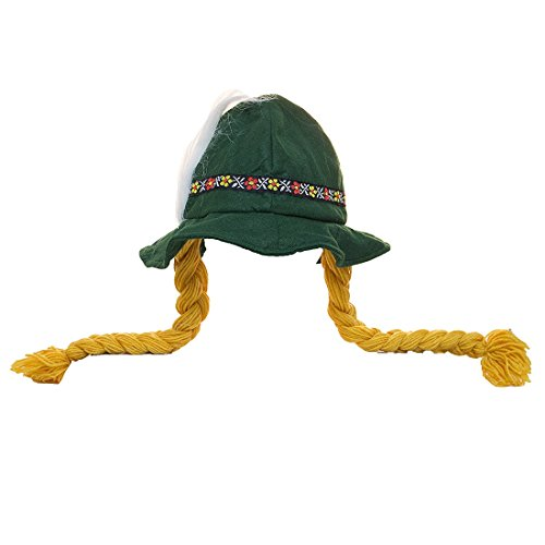 - Costume Accessory - Soft Felt Alpine Hat w/ Braids and Feather