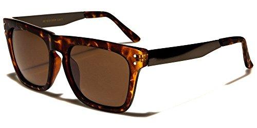 Tortoise Gunmetal Brown Classic Shape Metal Arms Vintage Sunglasses For Men And Women ()