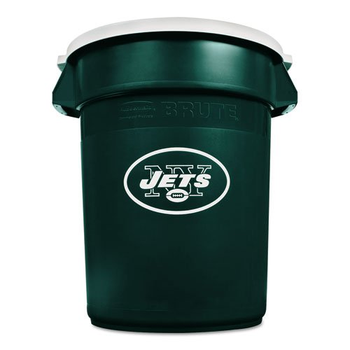 Hunter Green Receptacle Lid - Rubbermaid Commercial Team Brute Round Container w/Lid, Jets, 32 Gal, Plastic, Hunter Green/White - Includes one waste receptacle with lid.