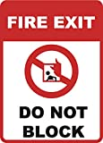 Fire Exit - Do Not Block Sign - Emergency Door Inches Business Signs - Single Sign, 12x18
