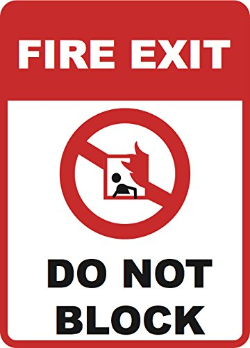 Fire Exit - Do Not Block Sign - Emergency Door 12 x 18 Inches Business Signs - Aluminum Metal
