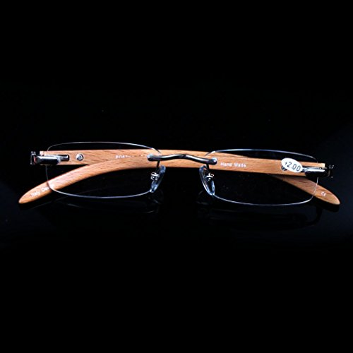 Elderly reading glasses natural wood rimless glasses glasses box visual barrier (3.0) by oudlme (Image #7)