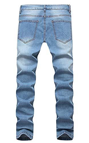 Moda Colour Da Blu Di Aderenti Strappati Retro Lavato Elasticizzati Fit Casual Rt Slim Jeans Pantaloni Uomo qg1ZOqpT