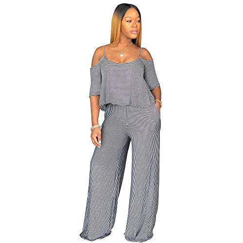 Eshoono Women Off Shoulder Spaghetti Strap Striped Wide Leg Long Pants 2 Piece Jumpsuits Blue