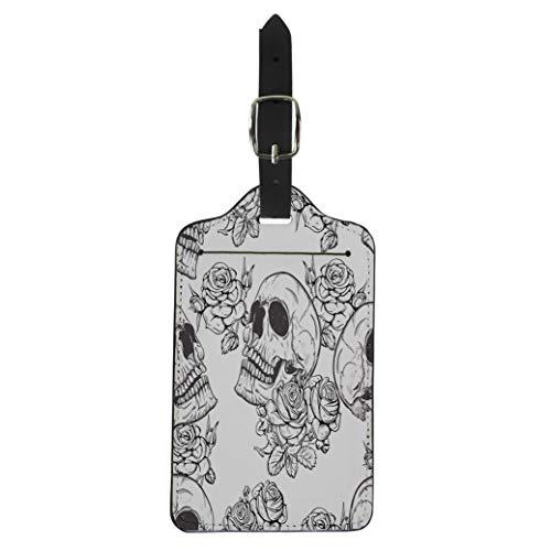 Pinbeam Luggage Tag Colorful Pattern Roses and Skulls Halloween Vintage Rock Suitcase Baggage Label -
