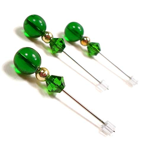 Green, Gold Beaded Counting Pins for Cross Stitch