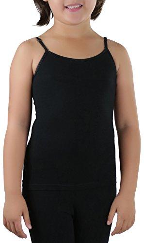 ToBeInStyle Girls' Adjustable Strap Scoop Neck Camisole - Black - Large
